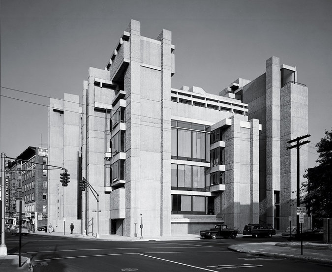Paul Rudolph designed the Yale Art and Architecture Building, which opened in 1963, while acting as department chair. The interiors were restored in 2008, decades after a mysterious fire in 1969 — some suspected disgruntled students.     Credit©Ezra Stoller/Esto on    New York Times