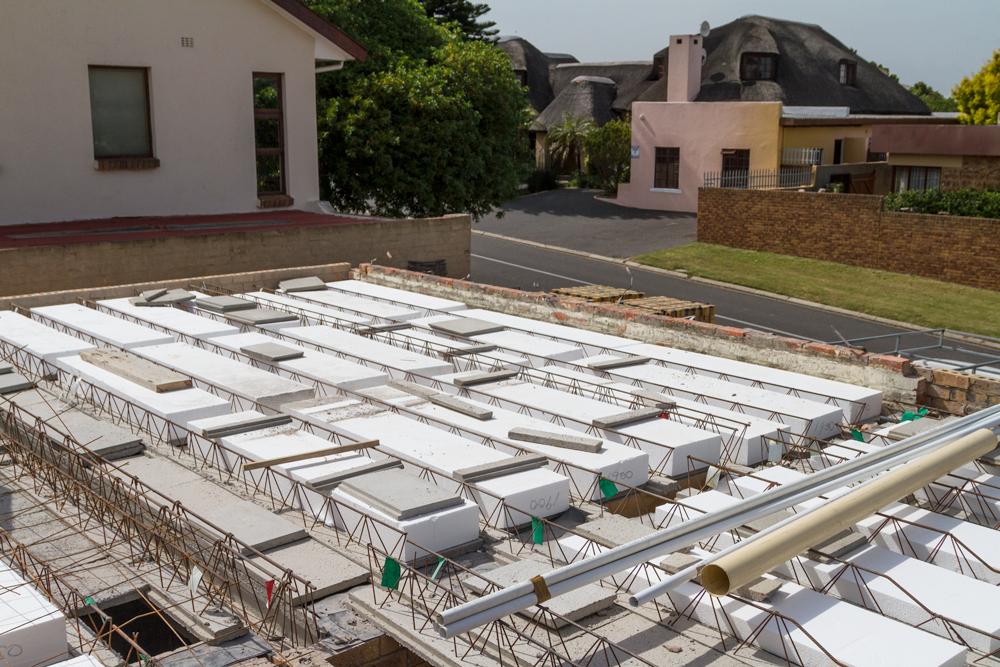 precast concrete installation under way