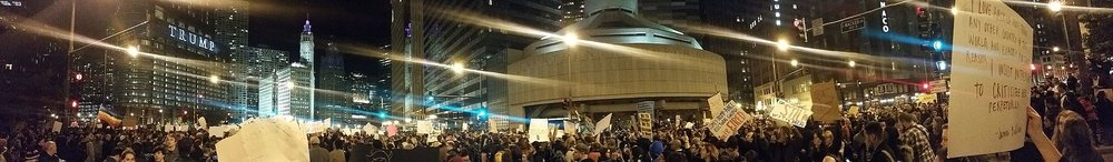 Trump Tower Chicago surrounded by protesters in November 2016. Credit: Wikipedia