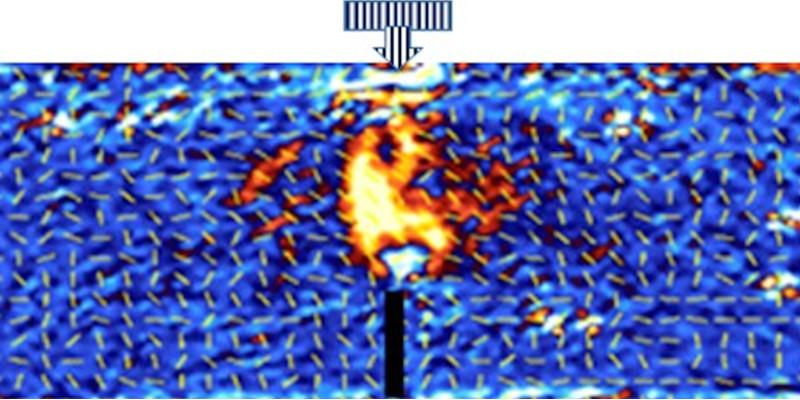 """Light reflected through the coating shows stress as a """"candle-flame"""" effect in a photonic camera image. Source:   The Engineer"""