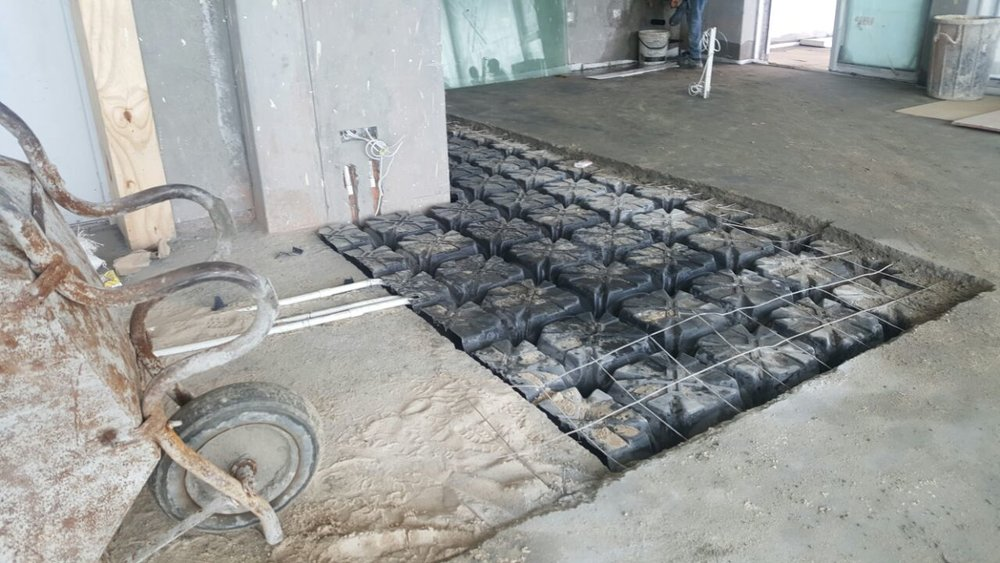 Modulo formwork requires mesh before 50 mm of concrete is cast over.
