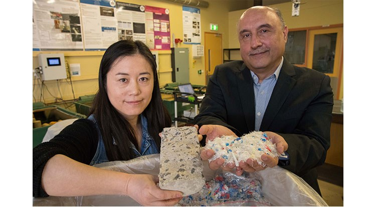 Aifang Wei, a PhD student at Deakin University, and Dr. Riyadh Al-Ameri, a Deakin University senior lecturer in structural engineering. (Photo by Donna Squire, Deakin University). Courtesy of Recycling Today