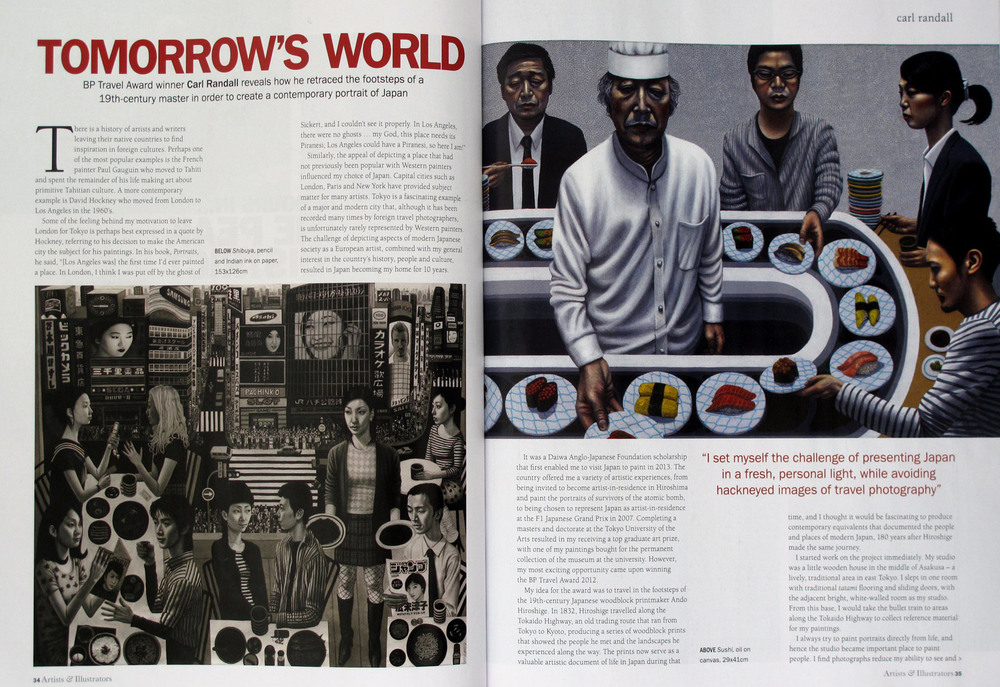 Artists and Illustrators Magazine  - Carl Randall BP Travel Award Japan paintings at The National Portrait Gallery London