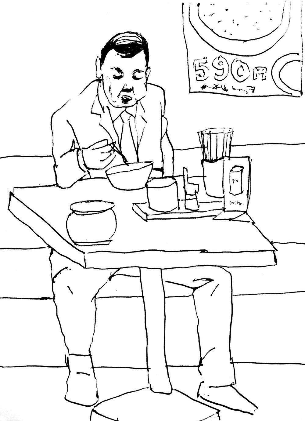 Sketch in a tempura restaurant, Tokyo