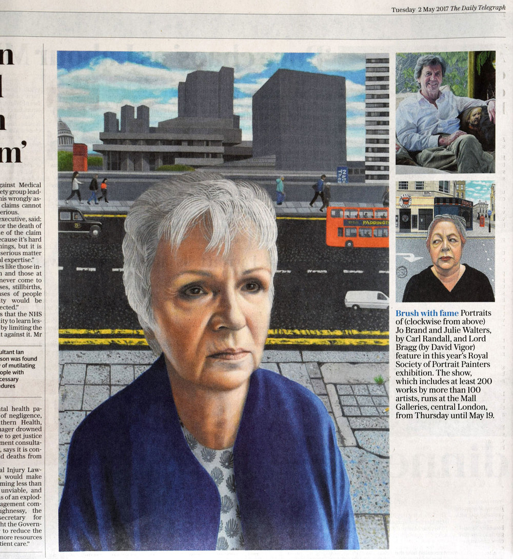 The Daily Telegraph. Tues 2nd May 2017.  Brush with fame.  Portraits of Jo Brand and Julie Walters, by Carl Randall, and Lord Bragg (by David Vigor) feature in this year's Royal Society of Portrait Painters exhibition. The show, which includes at least 200 works by more than 100 artists, runs at the Mall Galleries, central London, from Thursday until May 19.