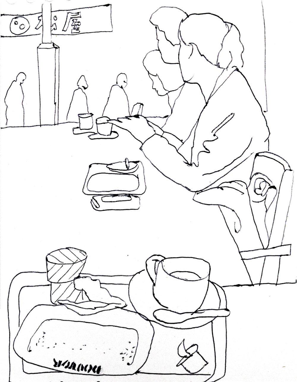 Sketch in a Doutor coffee shop, Tokyo