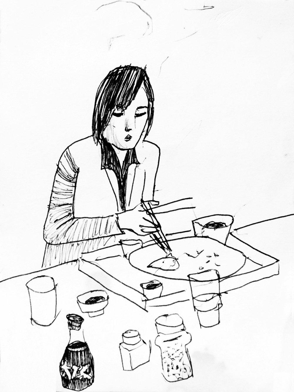 Sketch in an Ootoya restaurant, Tokyo