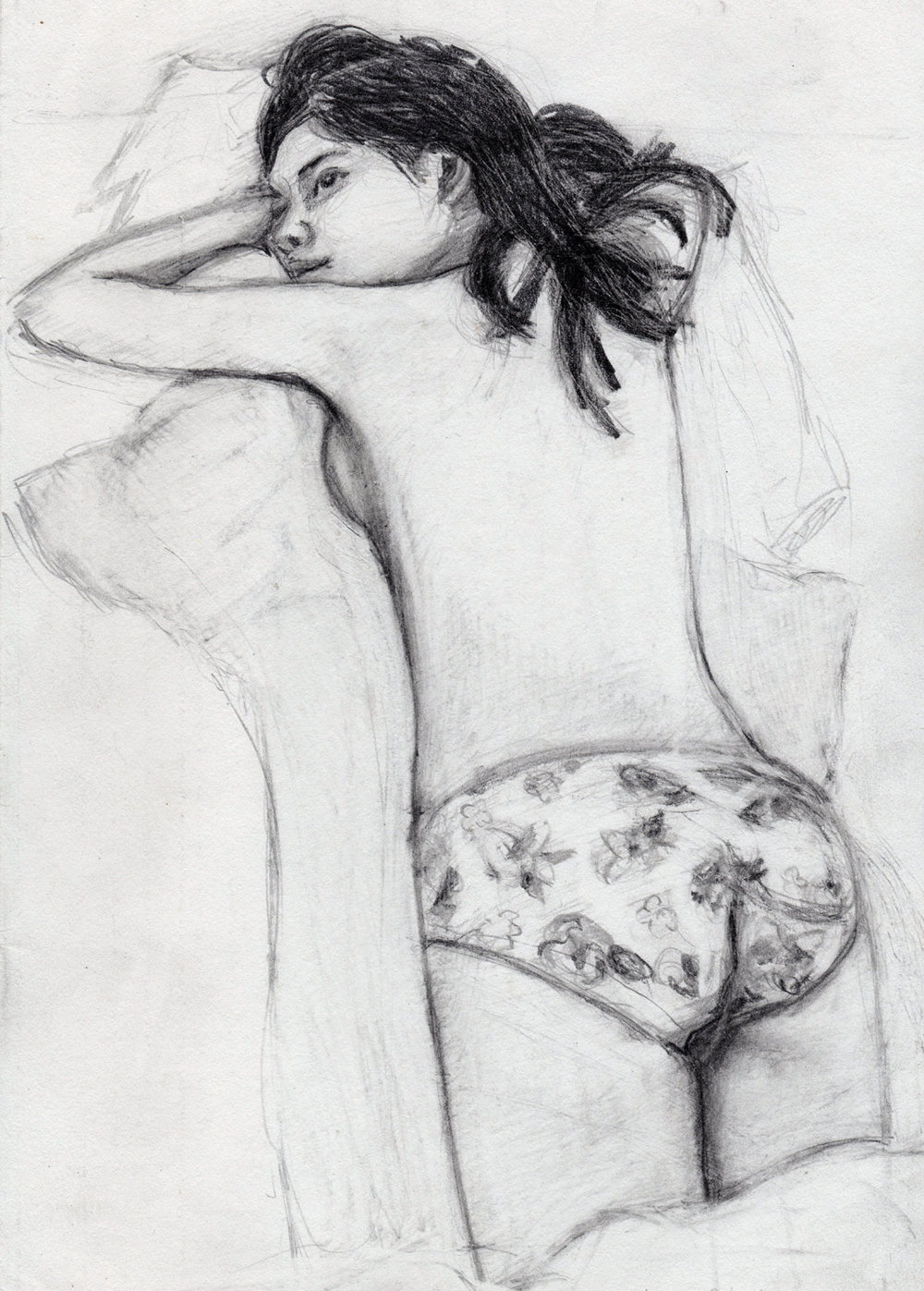 Girl in flowery underwear