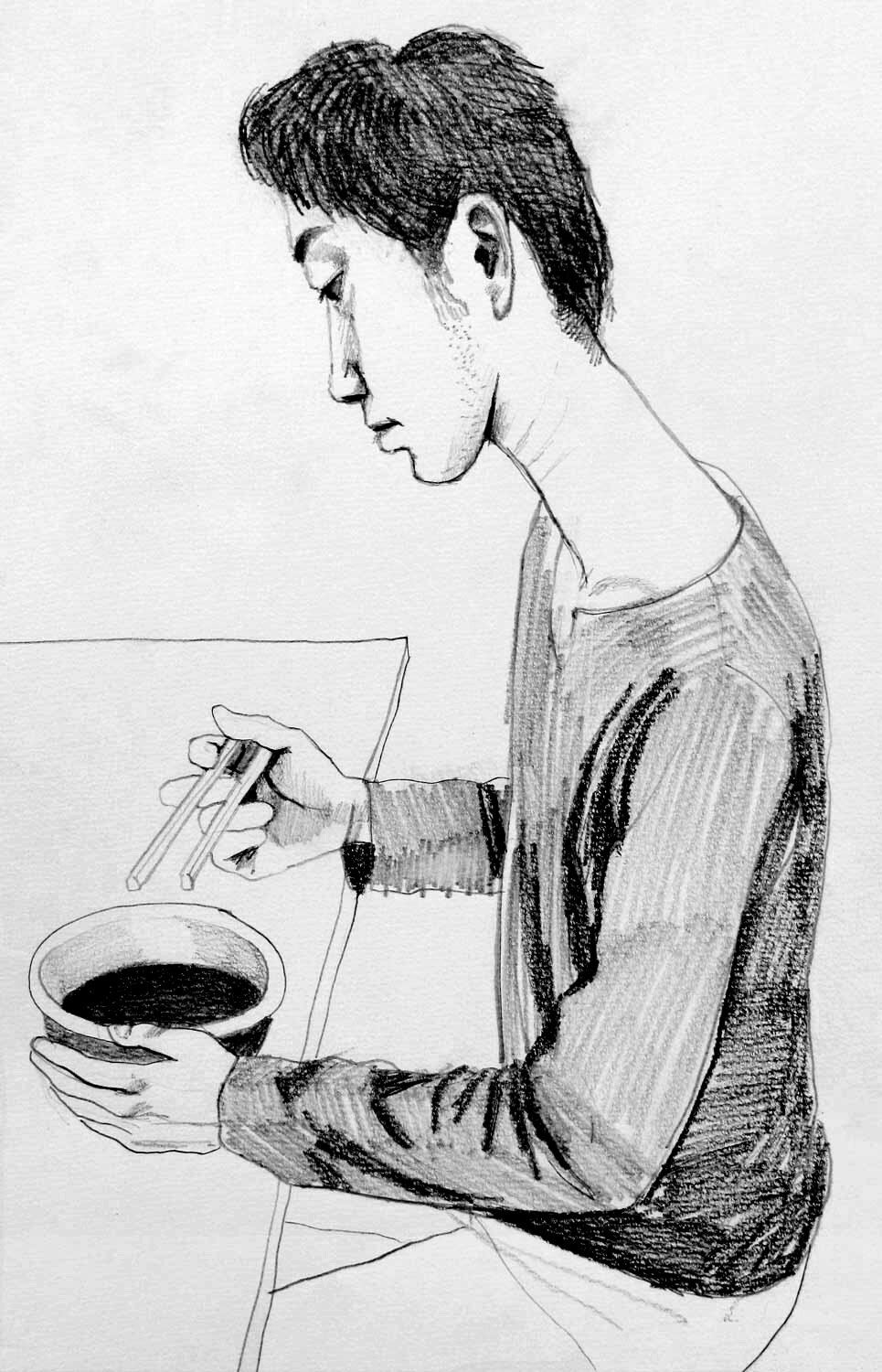 Sketch of a man eating noodles (for 'Mr.Kitazawa's Noodle Bar' painting)