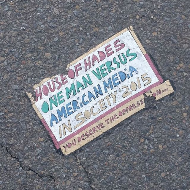 """YOU DESERVE THE OPPRESSION.  A good friend of mine @sethjbert sent me this image from near his hous in SF. If you haven't already check out the documentary """"Resurrect Dead: The mystery of the Toynbee Tiles"""". This type of project is inherently Urban as it has a palimsestuous relationship to the city. It's grass roots architecture at this smallest scale. . . . #toynbee #urbanism #urbandecay #architecturestudent #black #roadtrip #mystery #mysterybox #designstudent #graffiti #streetstyle #streetart #kubrick #jupiter"""