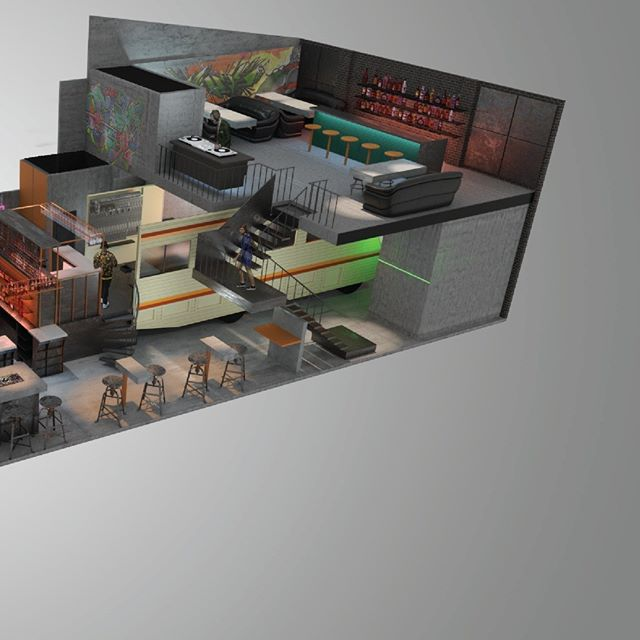 Bird's eye render of a new breaking bad bar I have been working on. Opening later this year. Really looking forward to construction 2/2