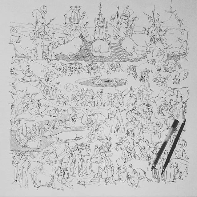 One of my favourite drawings a Sketch of Hieronymus Bosch's garden of earthly delight  50cm x 50cm