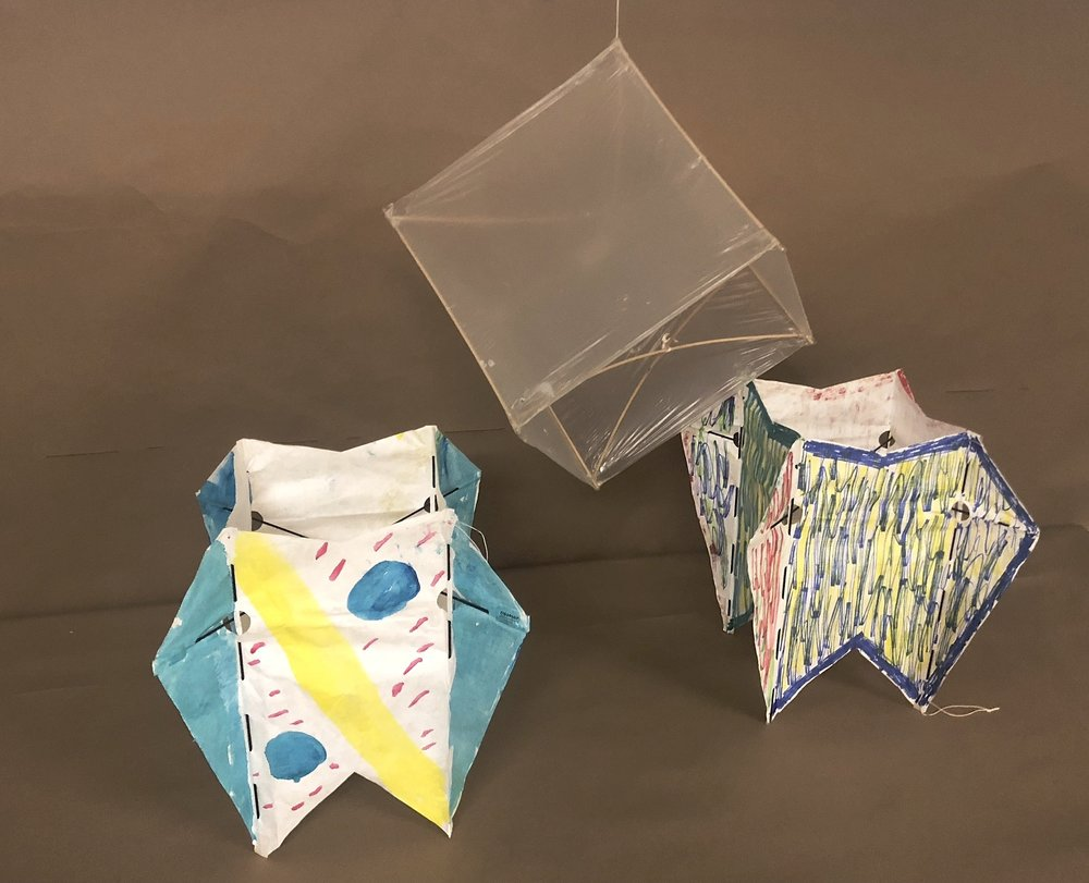 A box kite can take awhile but it provides a good challenge plus the opportunity for collaborative work. The ones pictured here were made this year and are single-cell boxes.