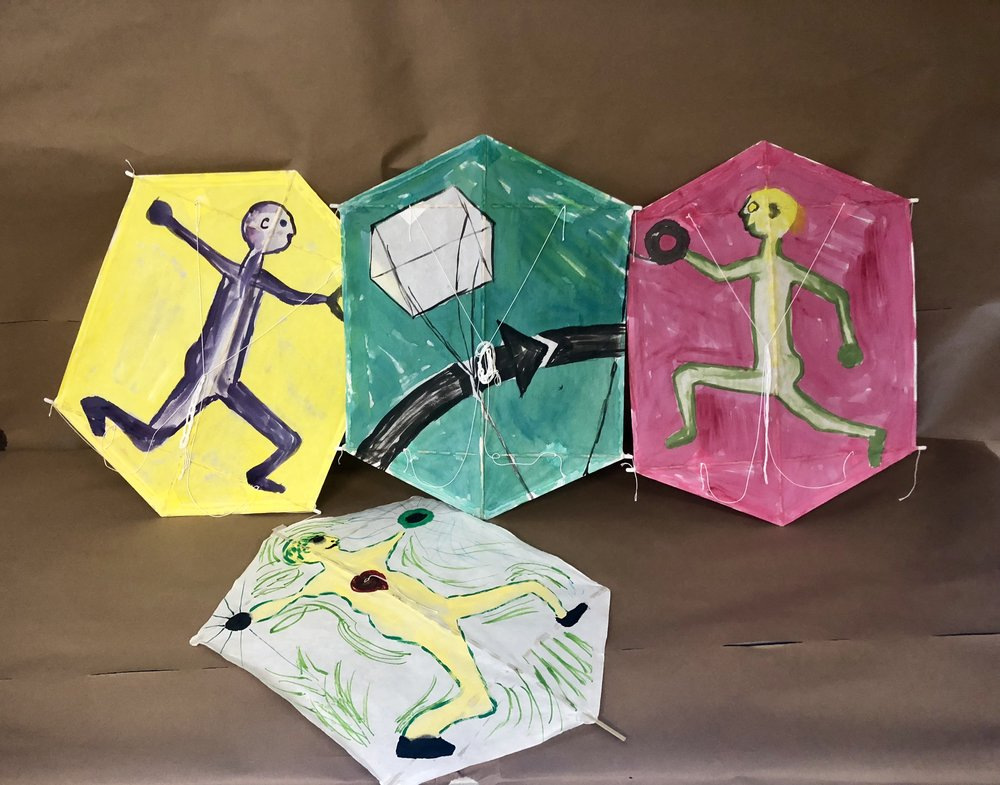 Rokkaku kites are Japanese kites (Rokkaku means hexagon).  These are made from Washi paper and bamboo and decorated with acrylic paints. They are great adult workshop kites!
