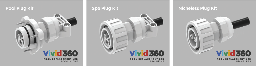 Vivid 360 Pool Replacement LED Plug Kits for Spas Pools and Nicheless
