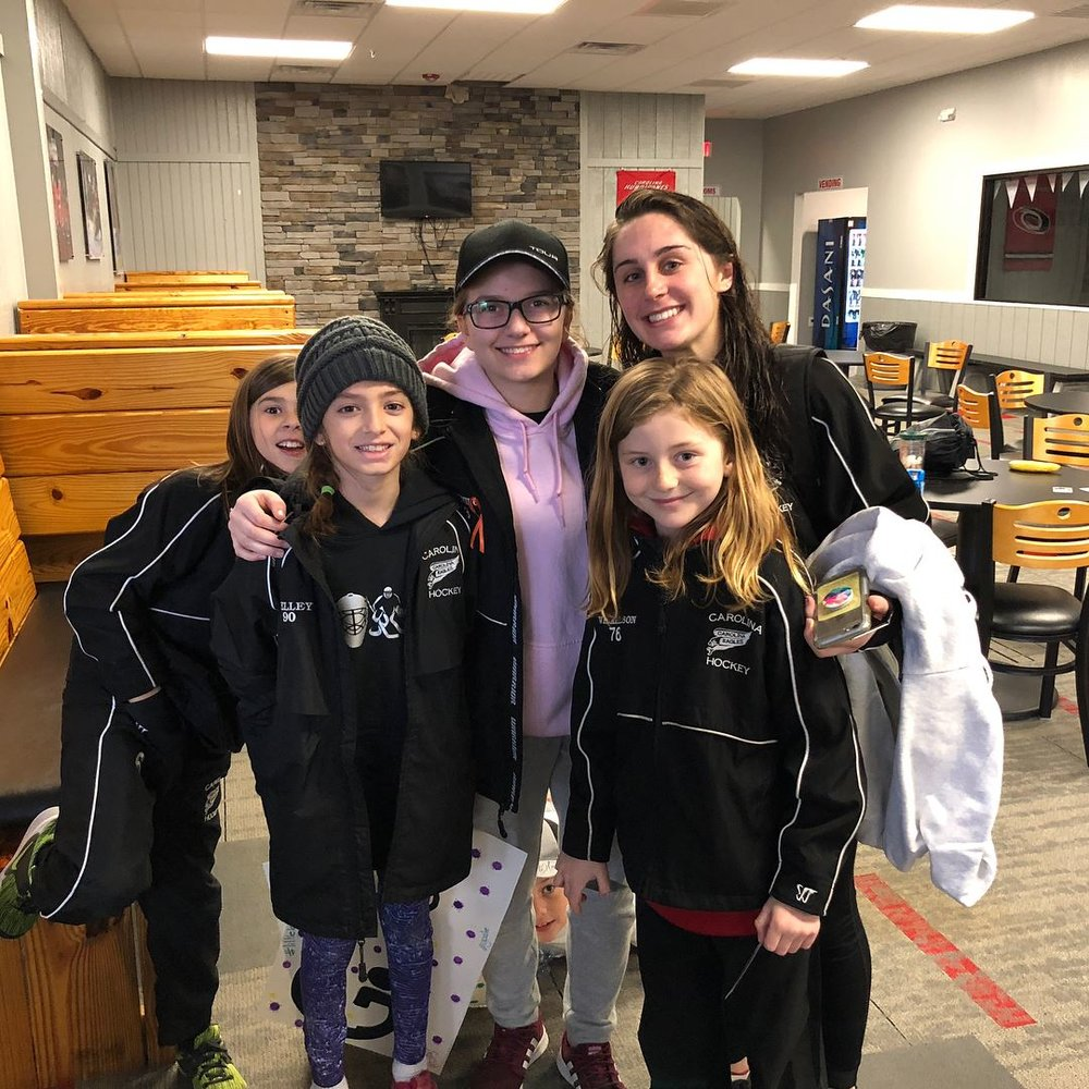 We also match every coed female hockey player with an older full time player to mentor them during their season.  Here is a great video of one event.