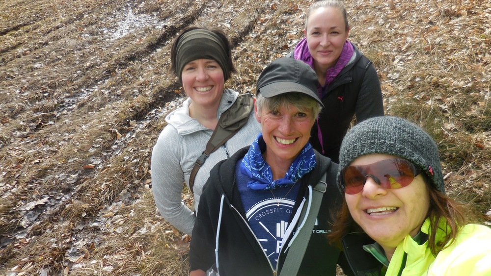 A few of the CFO ladies went for a pre-race hike in preparation for the Pick Your Poison trail run this weekend!  Maybe they also tobogganed down the only remaining snow on the hills too... Maybe. ;)
