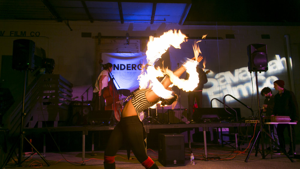 Twice a year, Lulu the Giant hosts an all local, all inclusive, visual and performing arts festival in Savannah, GA.  Featured above is Meri Rose of The Stardust Pixxies and Lulu the Giant at The UNDERGO of Spring 2018.  Photo by: Chelsea Johnson
