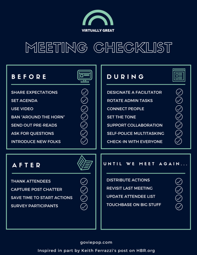 free printable checklist for better meetings