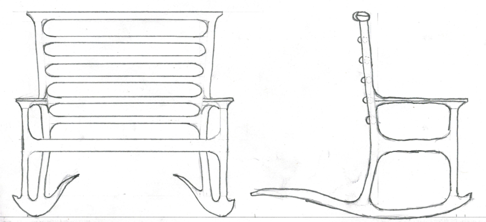 The rocking settee will be constructed using turned and shaped posts, bent laminated and shaped rockers, shaped ladder back slats and crest rail, and a slip seat upholstered with leather.  The result I would like to achieve with this piece is to have a comfortable rocking seat that can be shared between loved ones.