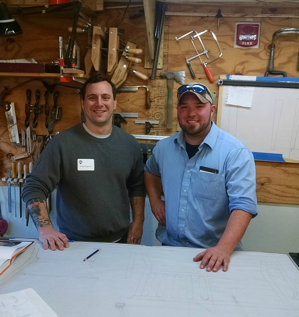 In the workshop with Grant Burger, 2016 Alden Artisan Advancement recipient, and Greg Brown, Furniture Master, mentor and founder of the Alden Artisan Advancement.