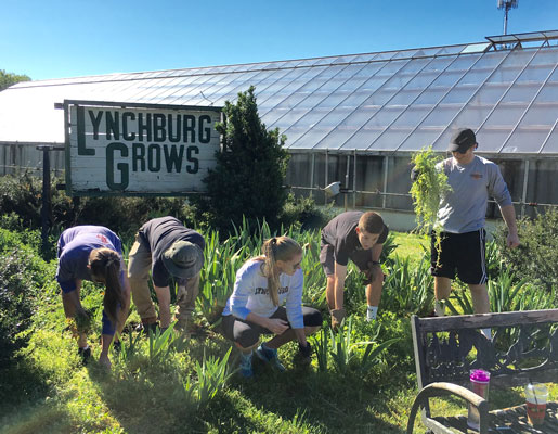Volunteers from Lynchburg College help out around the farm.