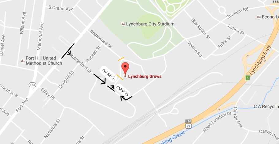 How to access the lower parking lots for the event from Rutherford Street. The driveway will be closed to vehicle traffic after 6pm.