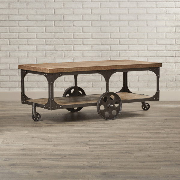 Industrial-cart accent table