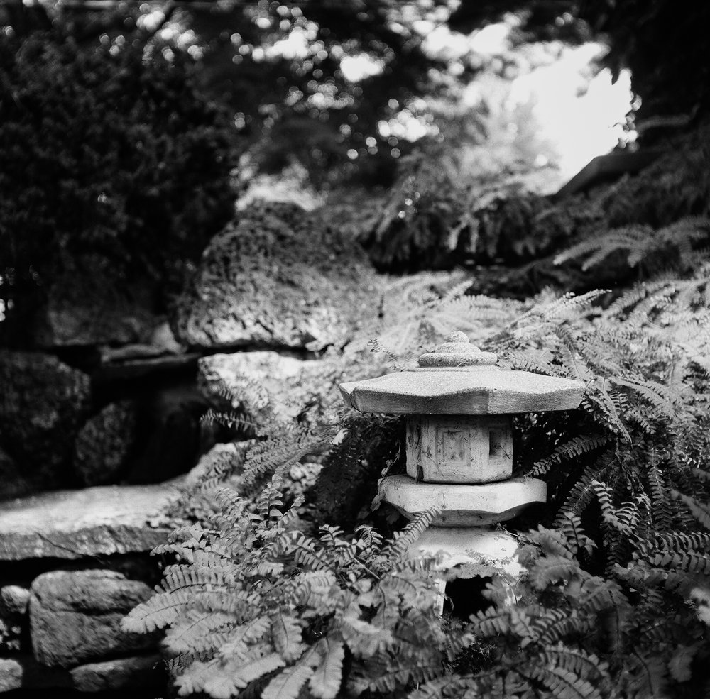 1) stone lantern, home. rolleicord iv & kodak tri-x 400 pushed +1, the darkroom lab.