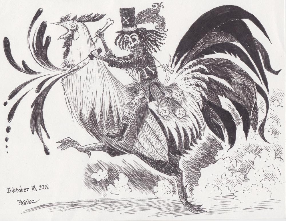 Inktober 18, 2016 (Voodoo Rooster)
