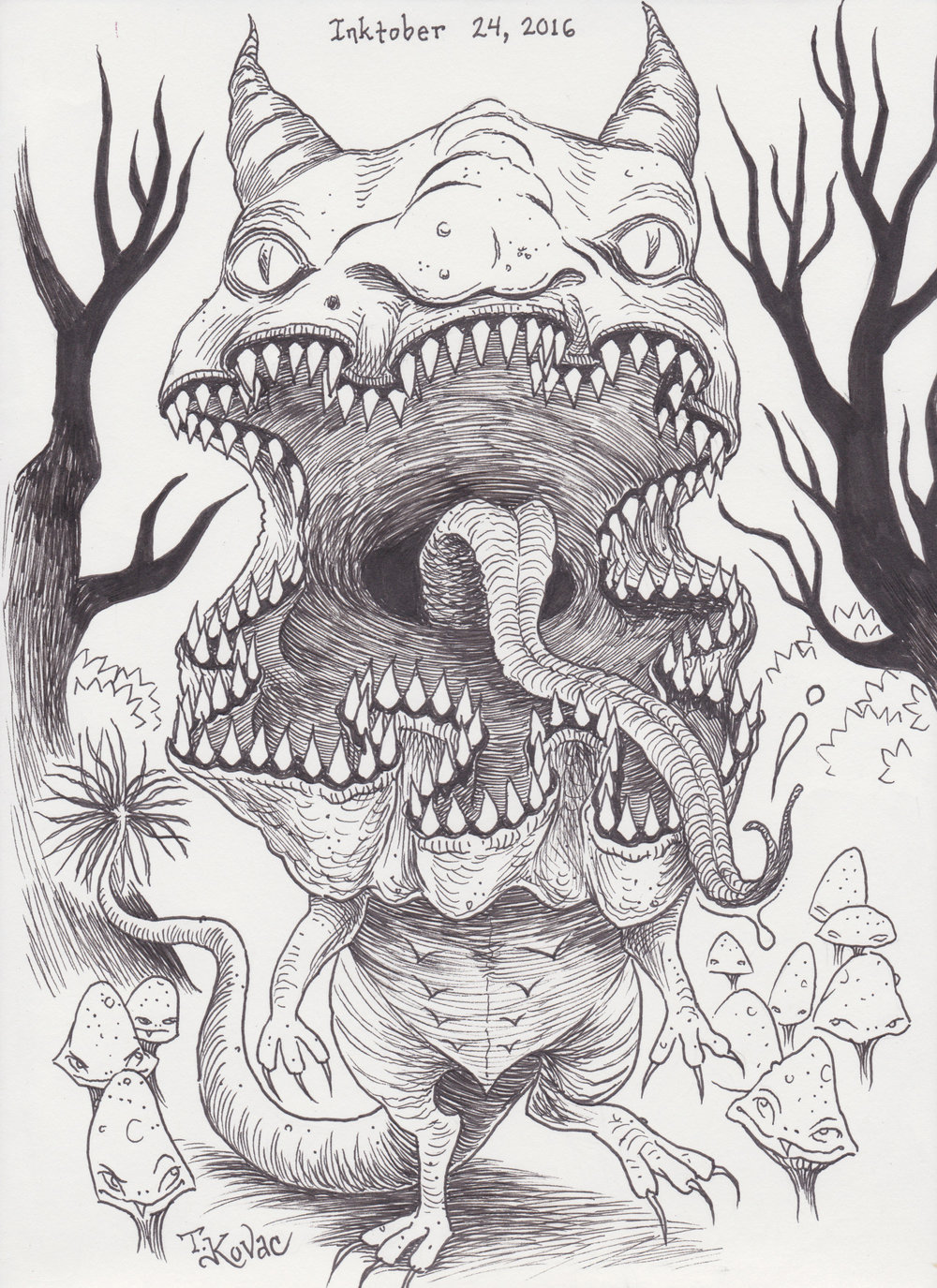 Inktober 24, 2016 (Monster Mouth)