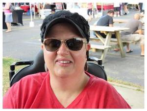 Pam Burpee at KFM picnic tables