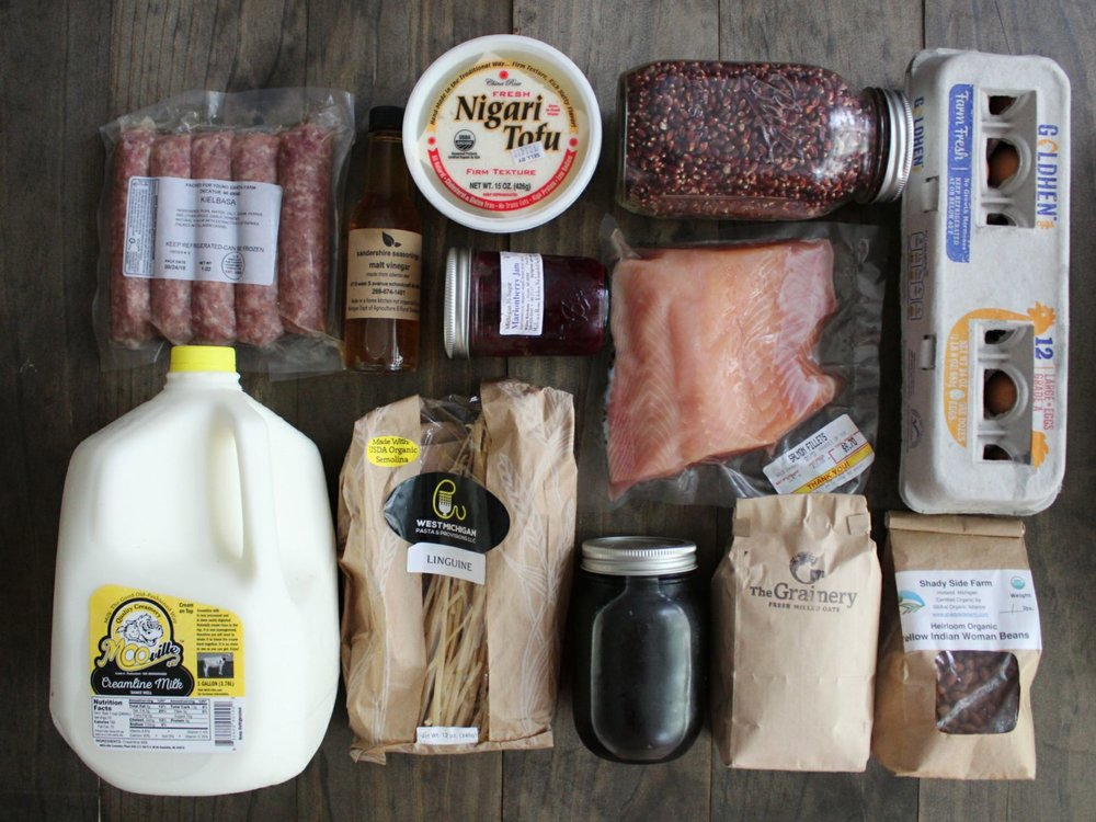 Keilbasa, Malt Vinegar, Tofu, Jam, Popcorn, Salmon, Eggs, Beans, Oats, Maple Syrup, Pasta, Milk
