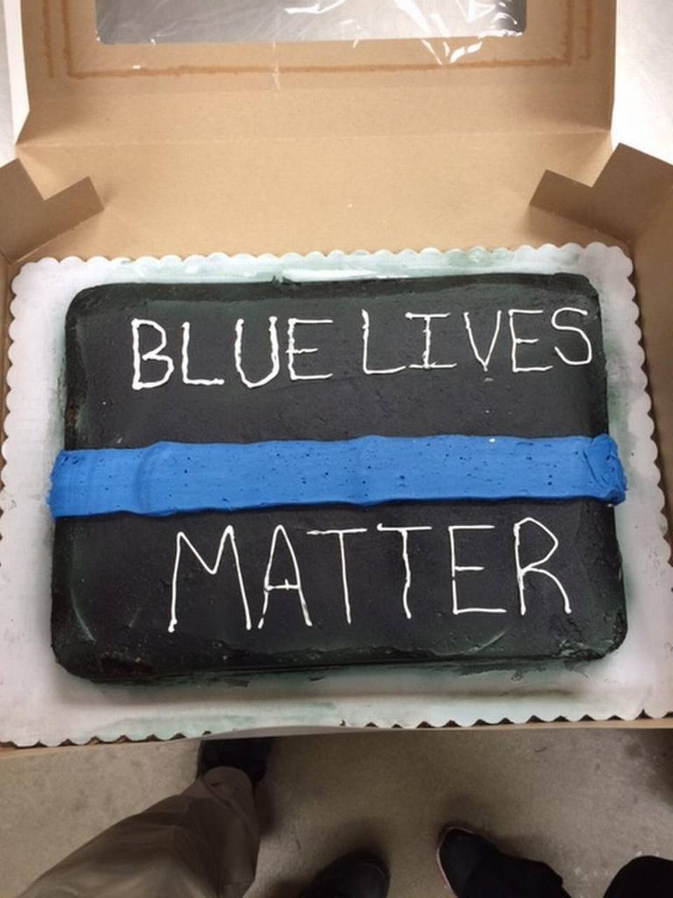 "As shown in a photo posted by radio host Todd Stearns, Walmart attempted to remake the cake it had originally refused to decorate. The result ""looked terrible,"" the police officer's daughter said. ""It doesn't look professional.""  ToddStarnes.com"