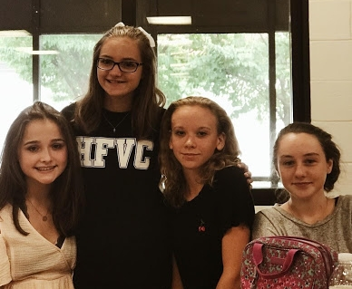 Sophomore, Natalie Pedrazzi with Kathrynn Peterson, Grace Quigley, and Riley Maguire