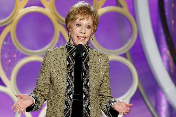Carol Burnett accepting the new Carol Burnett Award  (Photo source: New York Times).
