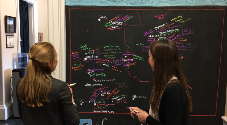 Mapping out Colorado's 3rd District in Rep. Scott Tipton's  office.