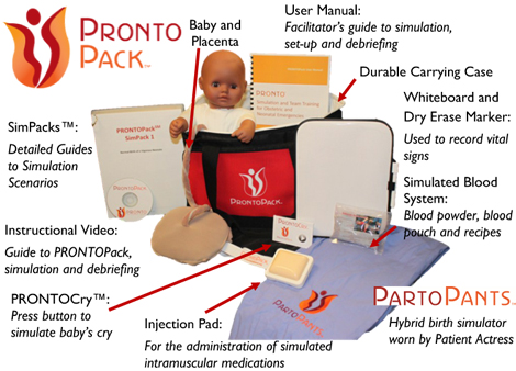 The Pronto Pak provides all supplies needed to teach birth, immediate postpartum and postpartum hemorrhage. Our Dream Kit!!