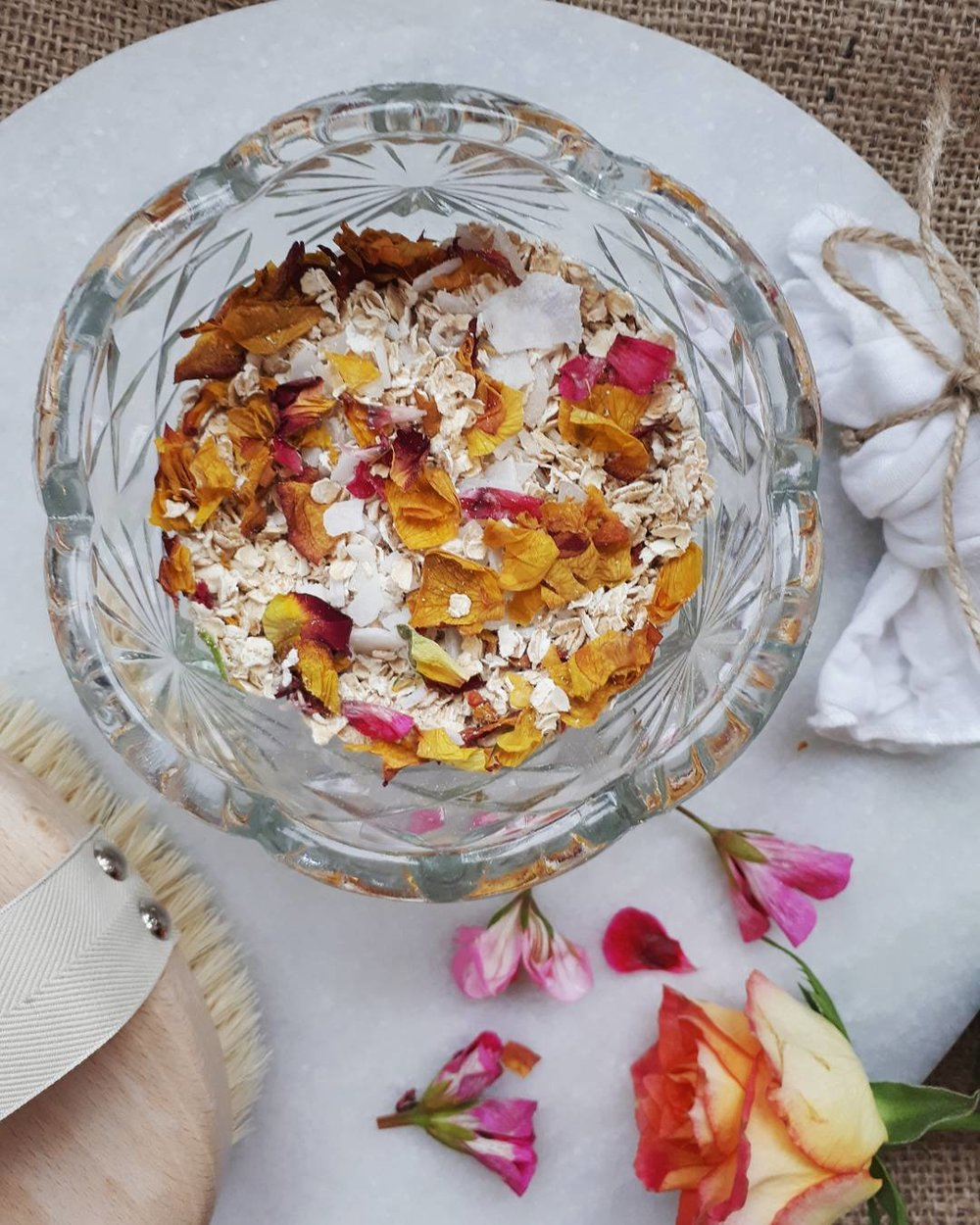A beautiful rose petal bath soak with wholly natural ingredients