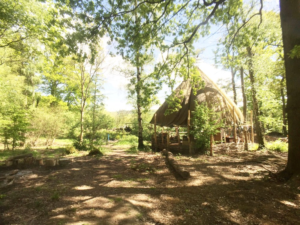 Our outdoor classroom at Surrey Hills Yurts - with an outdoor kitchen, fire pit space and plenty of room to get free and connect to the stunning natural setting!