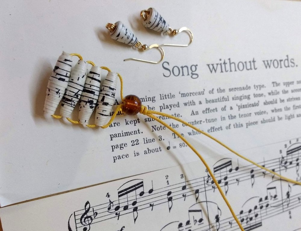 Personalise your own paper beads choosing a song, a map or painting your own paper to make into beautiful, one of a kind, upcycled pieces