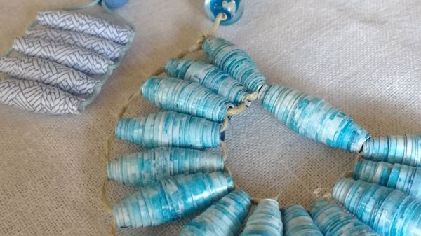 Mindful Paper Bead Workshop - Mindful making is the perfect out-breath for our busy lives;Shoulders relax, stresses fall away, and our natural breath returns with renewed calm…Who would know those exquisite beads are made from office envelopes!