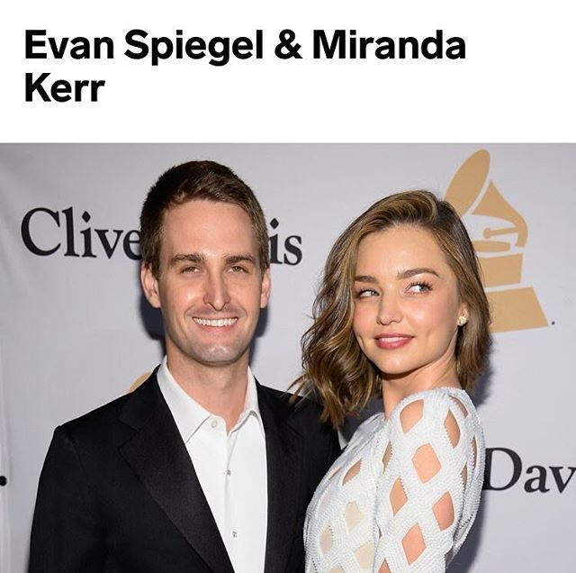 POWER COUPLES Who they are: Spiegel is the cofounder and CEO of Snap Inc., Snapchat's parent company. Kerr is one of the highest-earning models in the world and founder of wellness company KORA Organics 👀  #coworking #meeting #relationships #couple #quote #quotes #london #inspiring #motivation #youcandoit #justbringit #dreambig #success #staypositive #noexcuses #active #grind #focus #dedication #me #like #instagood #entrepreneur #freelance #nomad #london #networking #startup