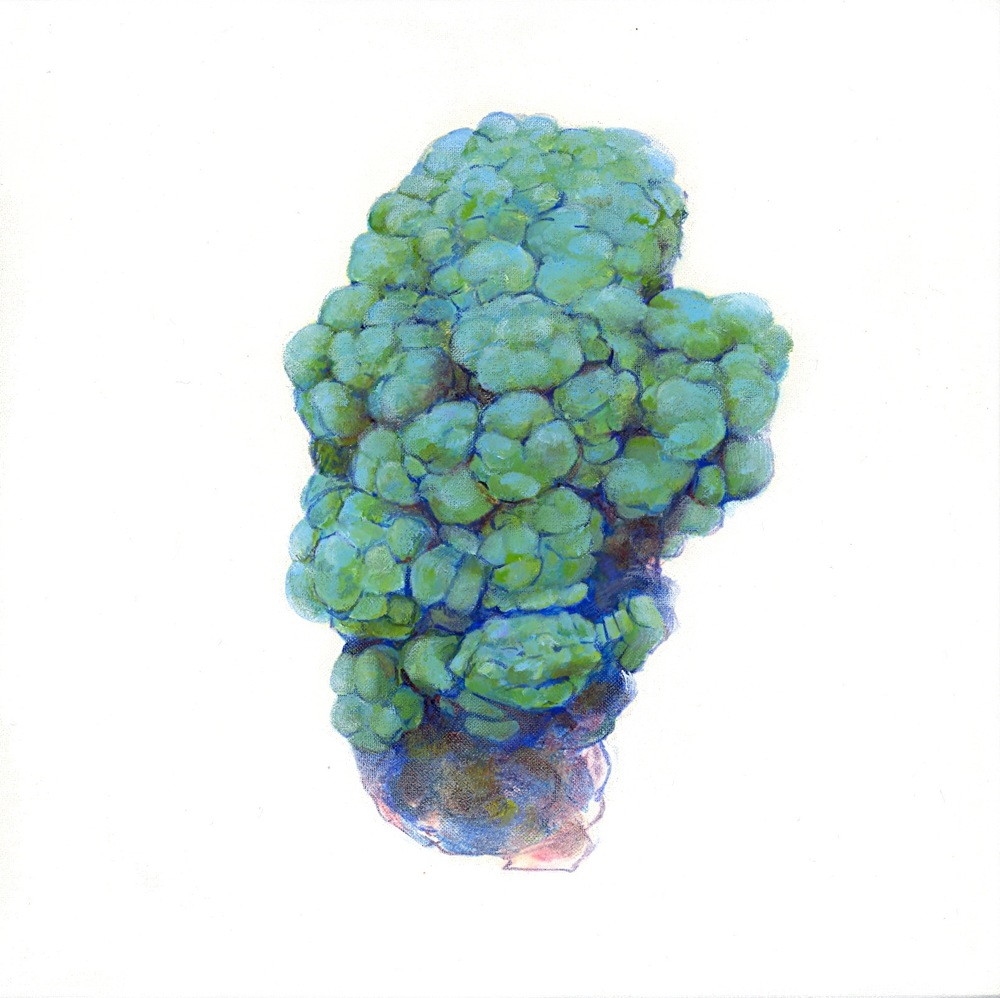 Malachite oil on linen on panel 8x8, 2012