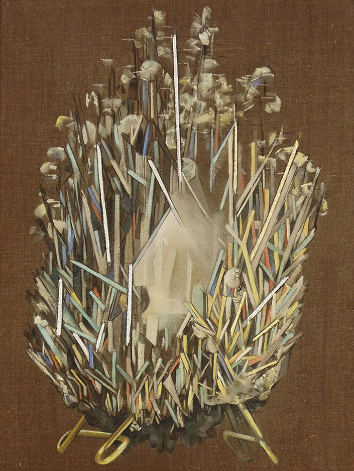 Stibnite oil on linen, silver and gold leaf 24x18, 2013