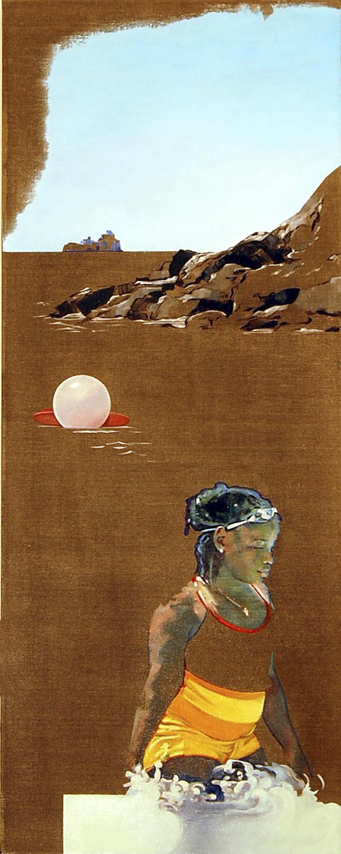 """The Swimmer (St. John)  oil on linen 50"""" x 20"""" 2009"""