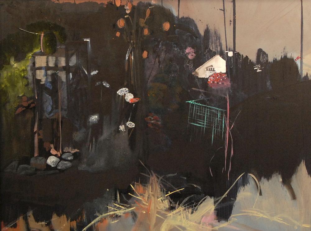 """Garden at Night  oil on panel 12""""x15""""2007 *"""