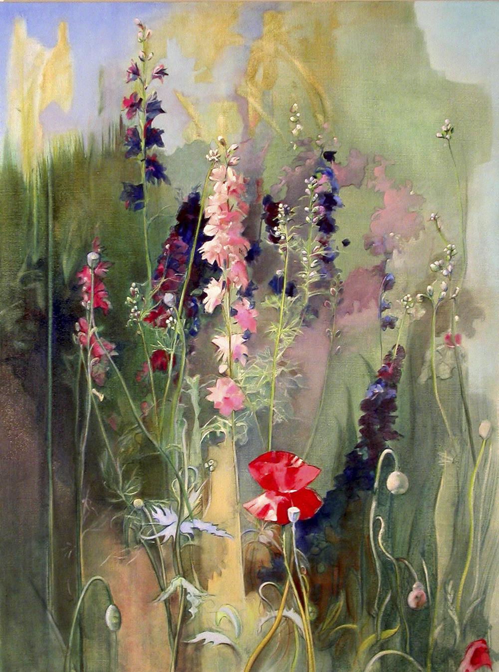"""Poppy in the Garden  oil on linen 30""""x40"""" 2005"""
