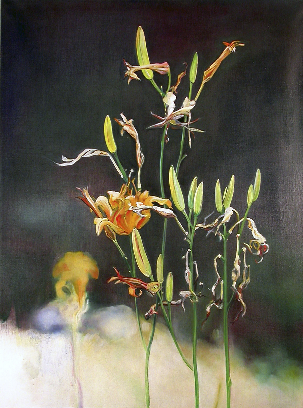 "Day Lilies  oil on linen 40""x30"", 2004 *"