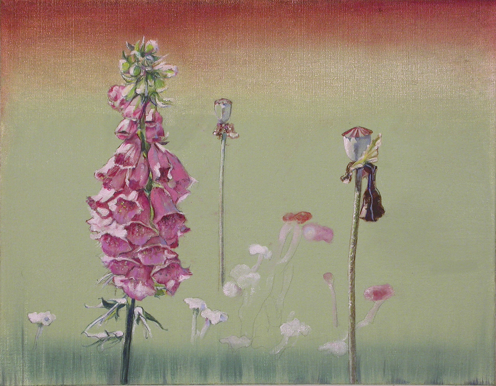 "Sentinals  for Foxglove oil on linen 18""x14"", 2005 *"